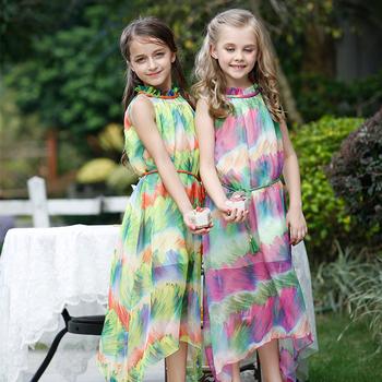29fd75c3b42 Детские длинные платья для девочек 2 лет летнее платье без рукавов модные платья  9 лет