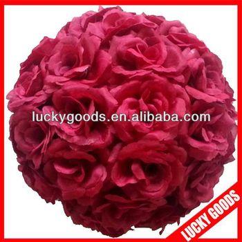 Burgundy silk rose flower ballwedding kissing ball buy artificial burgundy silk rose flower ballwedding kissing ball mightylinksfo