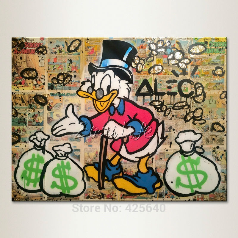 Alec Graffiti pop art street art famous duck decoracion Wall <strong>pictures</strong> for living room poster print painting on canvas
