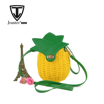 Girl Paper Straw Cross Body Bag Pineapple Shaped Woven Shoulder Bag