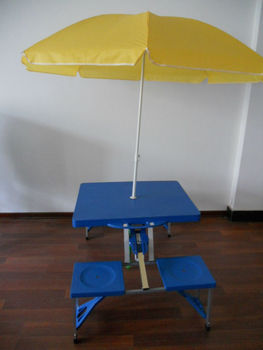 Outdoor Portable Folding Plastic Camping Picnic Table With Chairs - Picnic table parasol