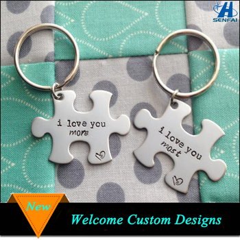 98a18a2dcf670 China supplier custom personalized silver puzzle piece keychain for couples