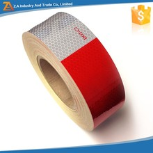 Hexagon/Honeycomb Pattern Red/White Trailer Truck Sticker,PC Material Clear Reflective Tape DOT C2