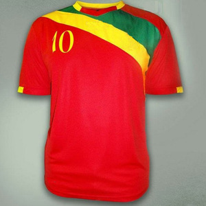 Produce yellow and red soccer jersey shirt