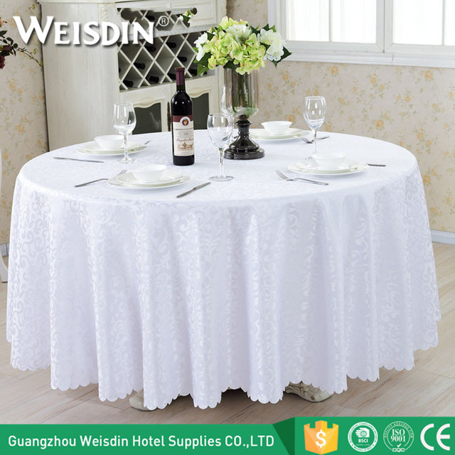 Guangzhou Factory Custom Banquet Jacquard Table Cloth Round Wedding Table  Cover