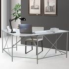 Customized large size wood MDF desktop metal legs modern fashion grey computer table office desk executive with l shape design