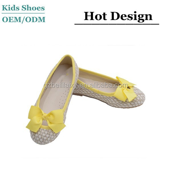 Girls yellow faux straw bow fashion flats ,girls simple shoes in china shoes shop