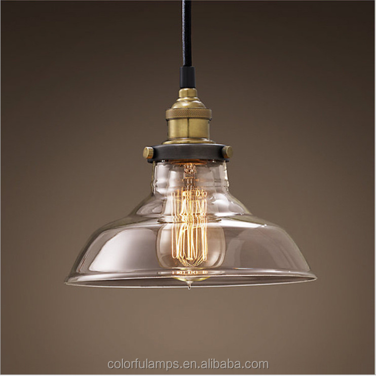 Factory supplying Glass Ball Vintage Pendant Lights .Loft Suspension Industrial Lamps For Hotel House/Home/Coffee Bar
