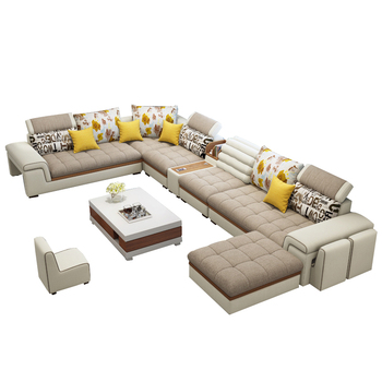 Latest home living room furniture couch U shaped sofa set 7 seater modern style wooden sofa set designs Living+Room+Sofas