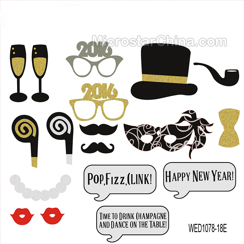 New year's party photo booth props kit 2016 new year party decoration