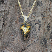 Hiphop Iced out Necklace Gold Lion Head Pendant