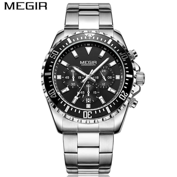 93c05fdf89c MEGIR 2064 Mens Quartz Analog Watch Stainless Male Clock Big Dial Relogio  Masculino Luxury Chronograph Wristwatches