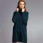 Long section Plain loose fit custom crew neck woolen designs ladies sweater top