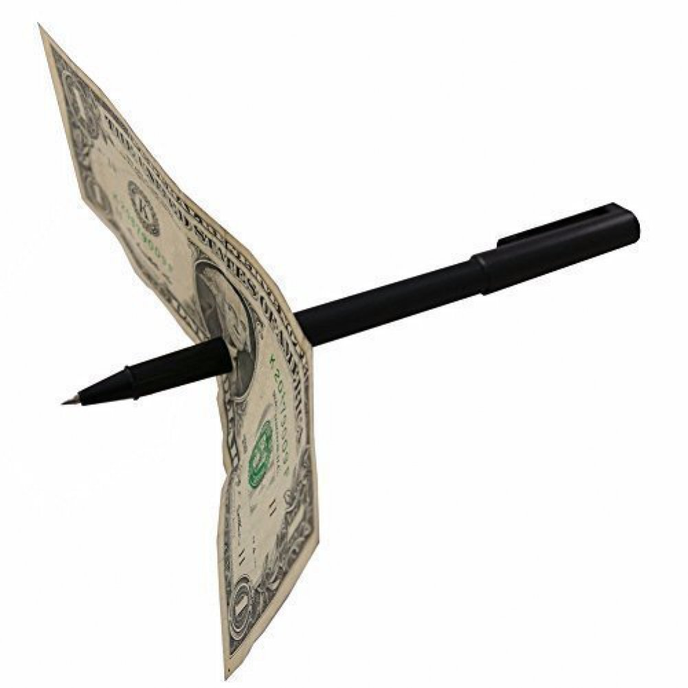 Magic Pen Thru Dollar Bill Trick: Magic Money Quarter Coin Tricks Illusions Set & Kits: Kids Beginners Shows 2015, 8 +, Boys & Girls