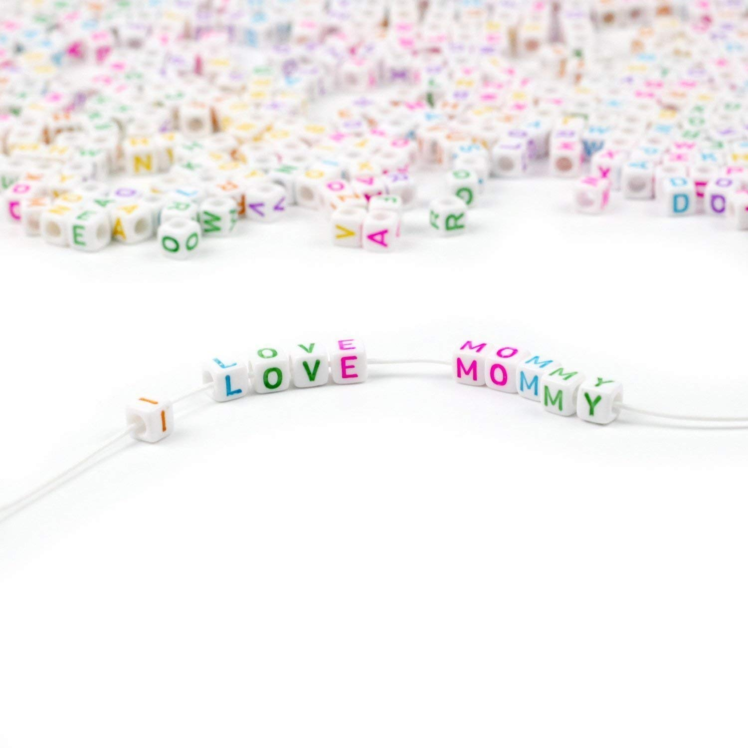 1000pcs 6mm Colorful Beads White Alphabet Beads with Colorful Letters for DIY Bracelets, Necklaces, Children's Educational Toys, Handmade Gift