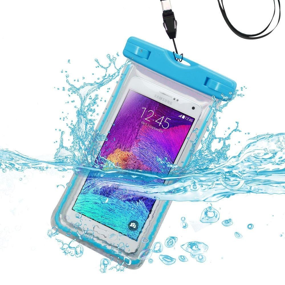 Waterproof Sports Swimming Lightning Carrying Case Bag for Samsung G850A(Galaxy Alpha), G386T(Galaxy Avant), T399(Galaxy Light), M840(Galaxy Prevail 2)(with Lanyard)(Light Blue) + Stylus