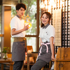 Short Sleeve Stylish Coffee bar Waiter and waitress Restaurant Uniforms And asian moderno shirt with sublimation apron