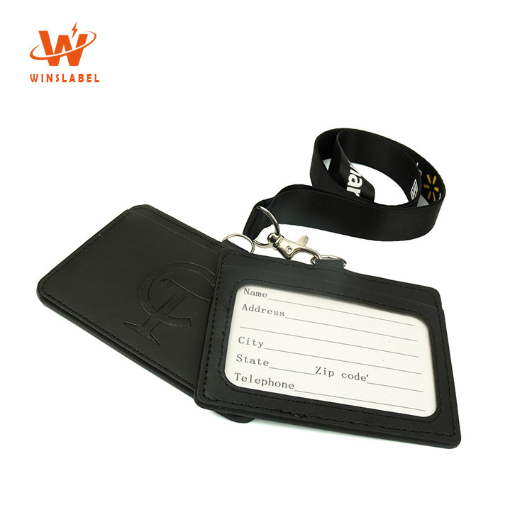 Kundenspezifische geprägte PU Kunstleder Fancy Cute Neck Student ID Card Horizontal Badge Holder mit Lanyards