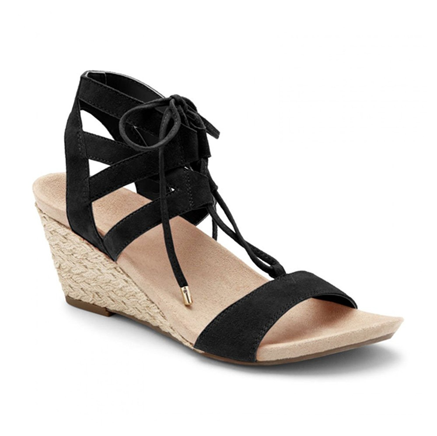 ab08b320ddf Get Quotations · Vionic Womens Noble Tansy Lace Up Espadrille Wedge Sandal  Black Size 6.5