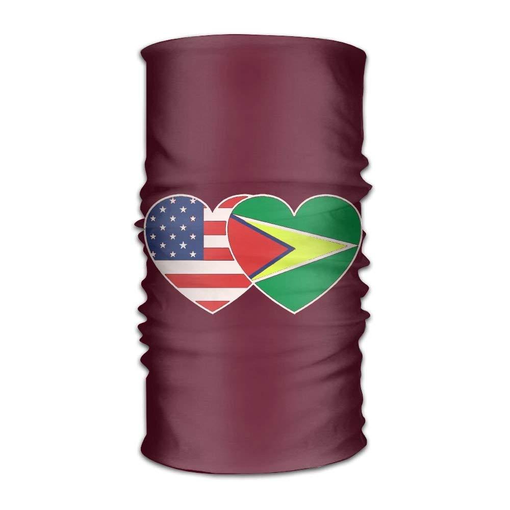 Guyana USA Flag Twin Heart Fashion Style Outdoor Multifunctional Magic Headkerchief