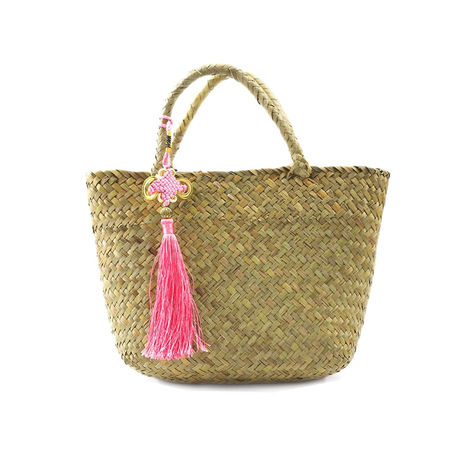ba24384acc02 Get Quotations · Handmade Woven Straw Bags Rattan Small Womens Beach Bag  Handbags