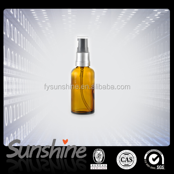 50ml amber round glass essential oil lotion pump spray bottle for hot stamping