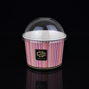 kraft ice cream paper cups with paper lids