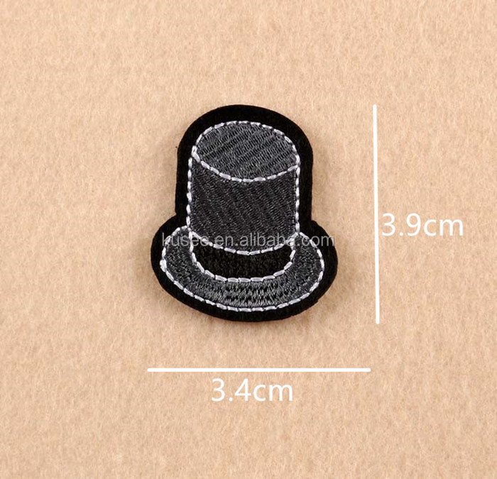 Custom embroidery patch fedora shape iron on back gentleman hat