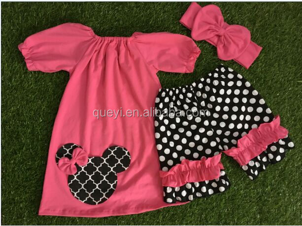 New babys summer wear boutique dress sets polka dots ruffle shorts with accessory girls mouse outfits red dress