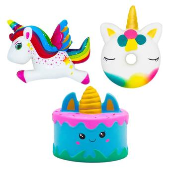 3 Pieces Squishies pack kawaii unicorn stress relief pressure decompression animal toy