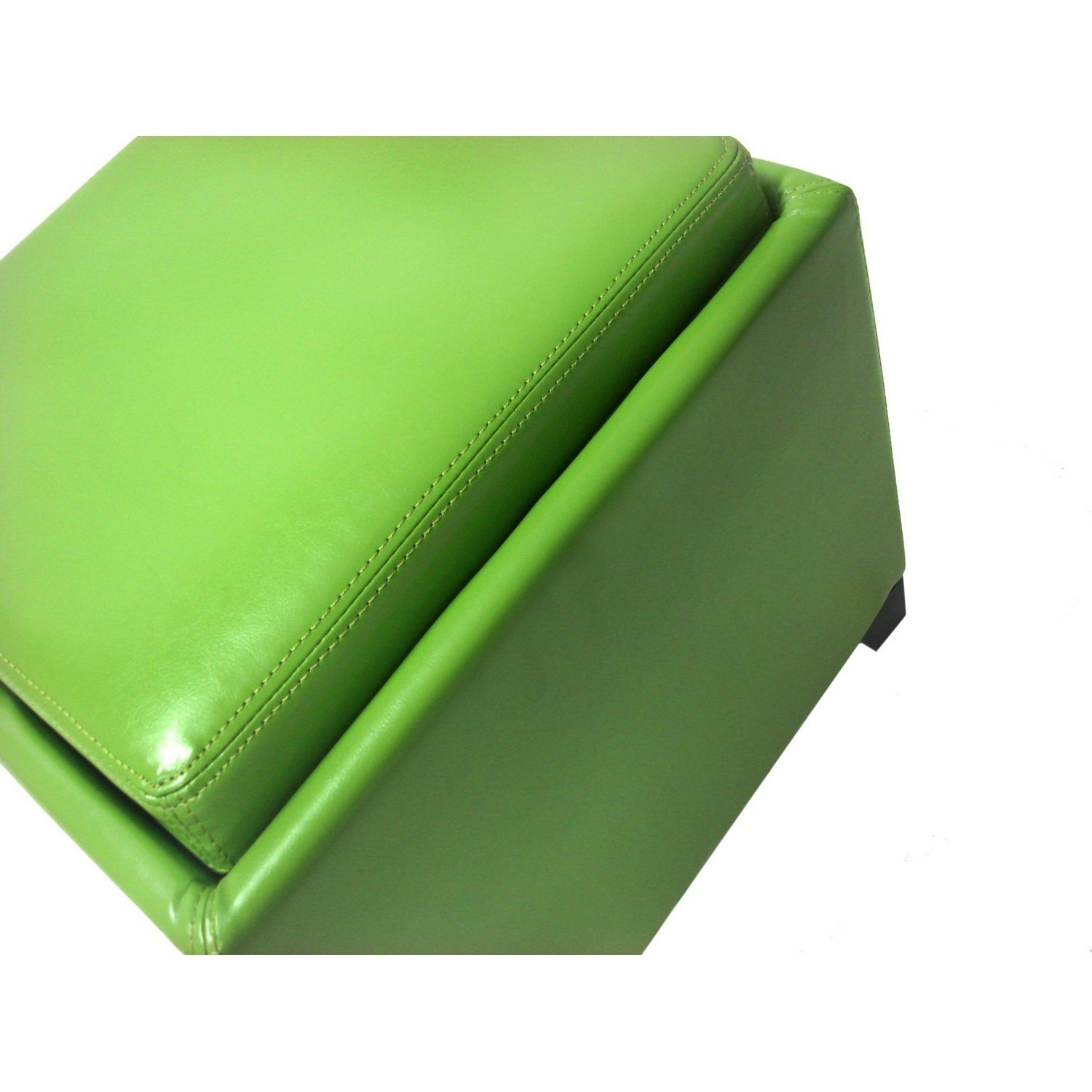Single Piece Green Square Shape Small Storage Ottoman With Tray, Solid  Pattern, Cocktail,