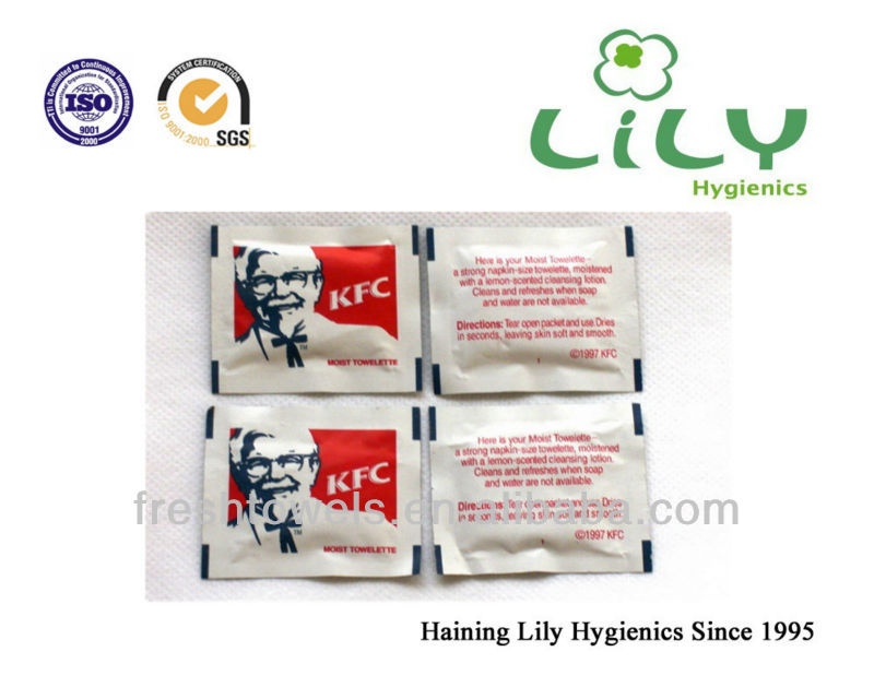 Disposable100%cotton KFC restaurant wet wipes/tissues/towels