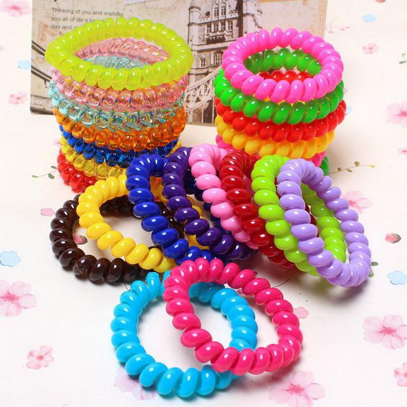 10 Pcs Fashion Bright Color Telephone Wire Elastic
