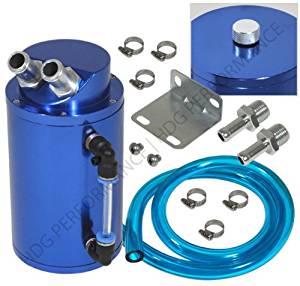 Universal 750ml Capacity Aluminum Oil Catch Reservoir JDM Cylindrical Tank Blue