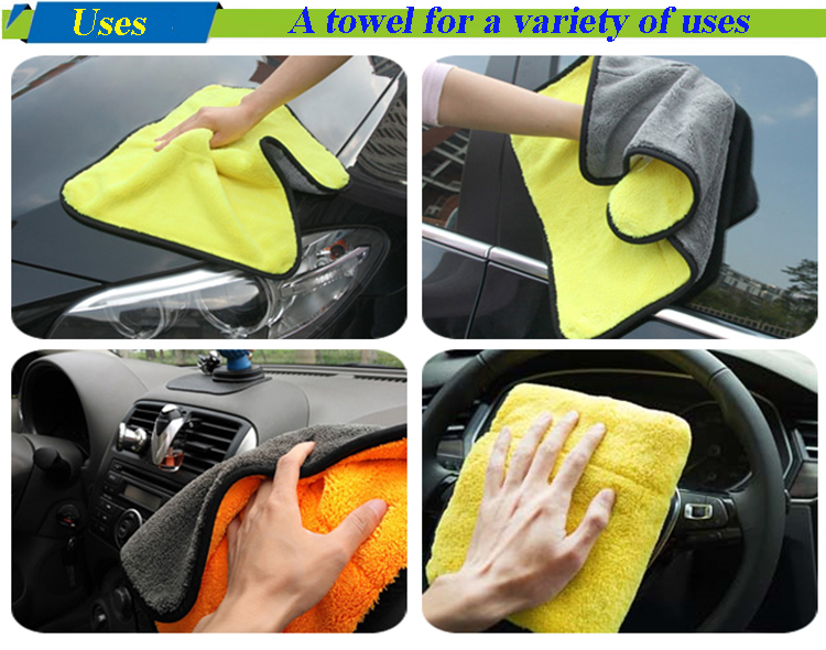 thick absorbent and double color microfiber car towel with coral fleece and bordure