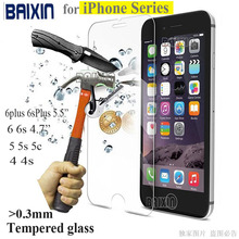 0.26mm 9H tempered glass For iphone 4s 5 5s 6 6s plus screen protector protective guard film front case cover +clean kits