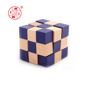 colored magic cube Brain Teaser Cube block wooden snake cube puzzle