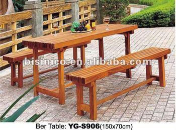 Garten Holz Bier Tisch Mit Bank/holz Freizeit Stuhl Lange/outdoor Möbel Aus  Holz