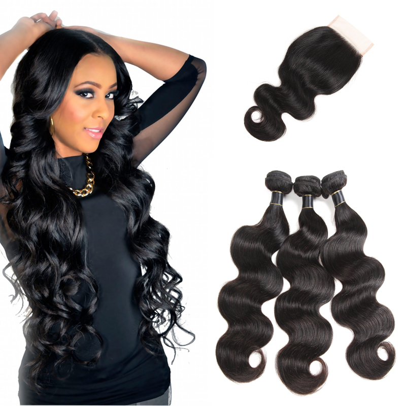 Free Samples Brazilian Body Wave Human Hair Bundles with Closure 100% 9A Unprocessed Virgin Remy Hair 4*4 Closure Unprocessed, N/a
