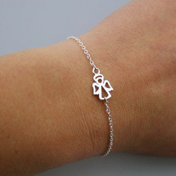 Silver Plated Tiny Guardian Angel Bracelet Por New Design Adjule In High Quality Charm