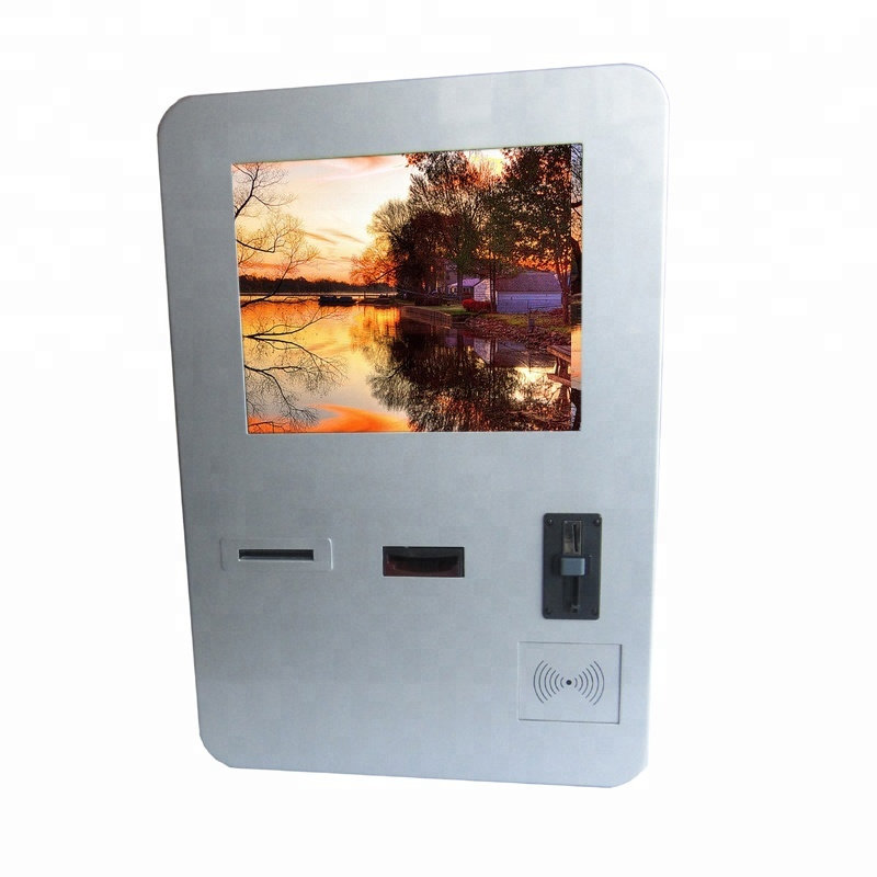 Touch screen wall mounted ticket vending machine kiosk