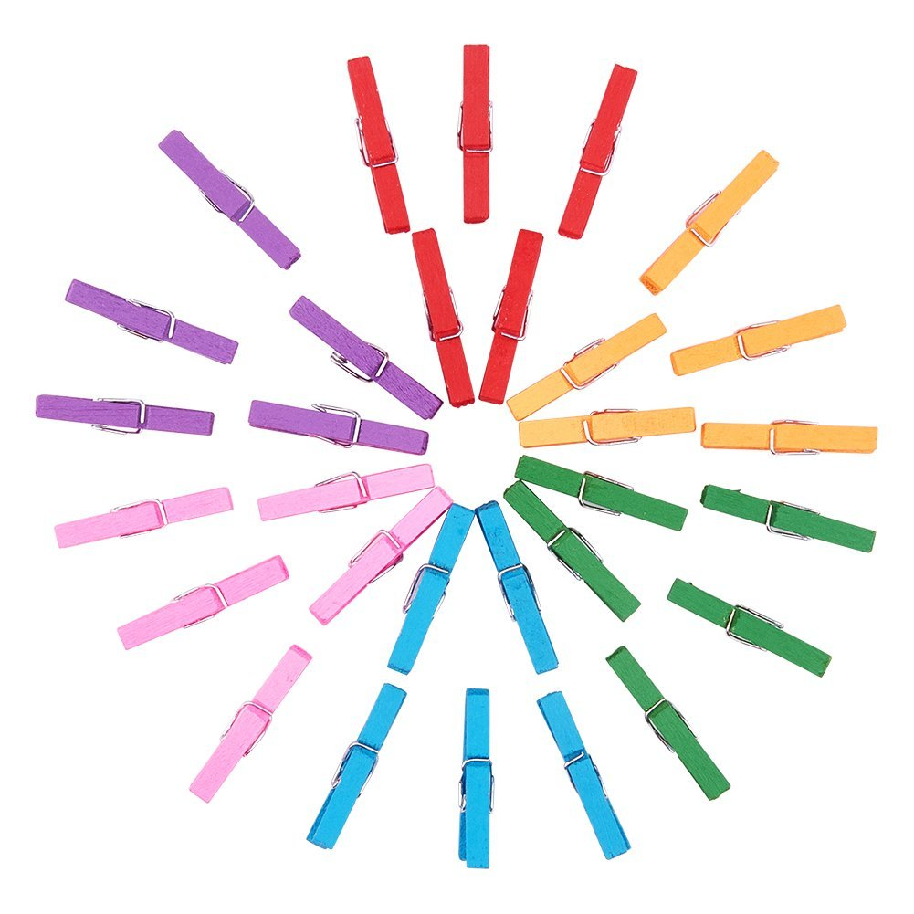 PandaHall 100Pcs Wooden Craft Pegs Clips Clothespins for Photo Home Accessories in Size 30x11x5mm Dyed Mixed Color