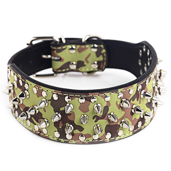 Rivet Cool Leopard Camouflage Large Dog Leather Collar