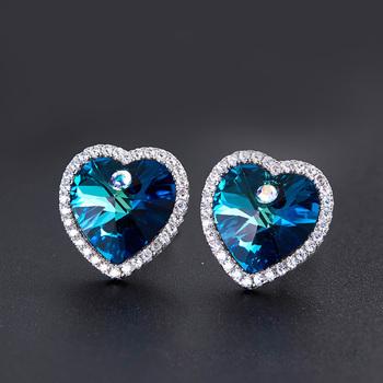 Crystals From Swarovski Heart Stud Earrings