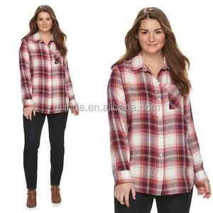 Cheap Flannel Shirts Juniors' Plus Size Pocket Wholesale Custom Made in China Plus Size Plaid Flannel Shirt