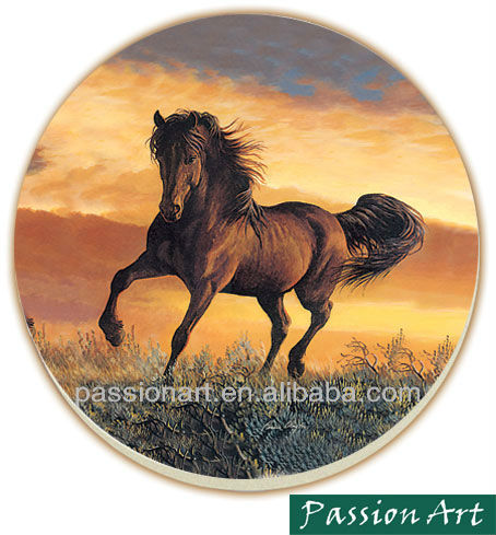 Horse Design Printed Ceramic Coaster with back cork
