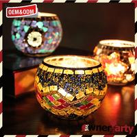 Glass Candle Mosaic Pattern Tea Light Holders