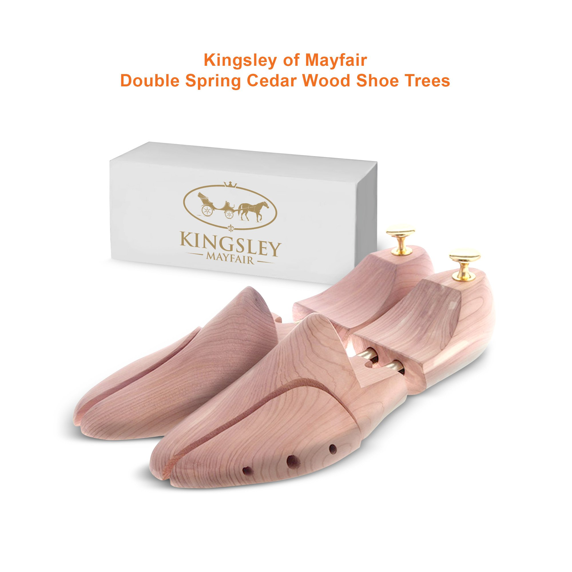 Kingsley of Mayfair's Adjustable Double Spring American Cedar Wood Shoe Tree to Maintain Shoe Shape, Control Odor, Absorb Moisture and Maintain your Leather Shoes in Perfect Condition (Size 46-47)