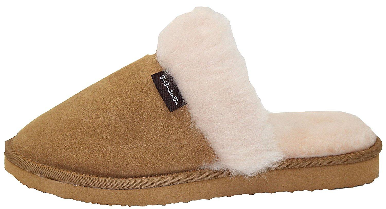 ae4728f9b3b9 Get Quotations · Furfurmouton Genuine Australian Sheepskin Slippers Men s  Sheepskin Sheep Wool With Cowhide Leather Slippers Men s Super Thick