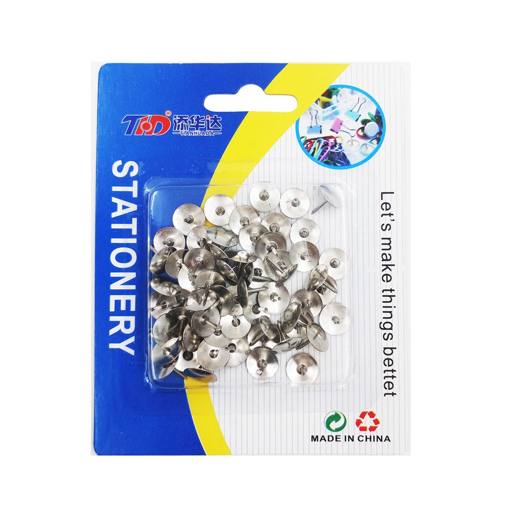 THD Thumb Tacks for Office, Hanging Memos and Pictures Box. Sliver 60 pcs/package , Gold 60 pcs/package and Mixed color 30 pcs/package. (SLIVER)